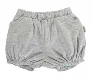 Dětské bavlněné kalhotky, kraťásky s mašlí Mamatti Bubble Boo - šedé, vel. 92