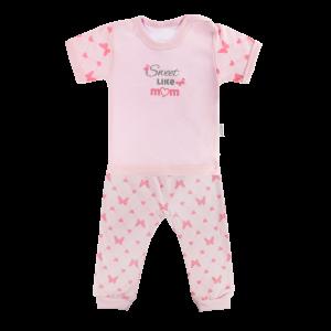 Bavlněné pyžamko Mamatti Motýlek srdíčko - krátký rukáv - růžové, vel. 86