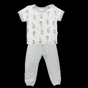 Bavlněné pyžamko Mamatti Baletka - krátký rukáv - smetanové/šedé, vel. 86