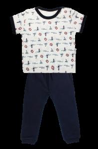 Bavlněné pyžamko Mamatti Maják - krátký rukáv - granátové, vel. 104