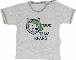 Mamatti Bavlněné tričko Medvídek proužek - krátký rukáv, roz. 92