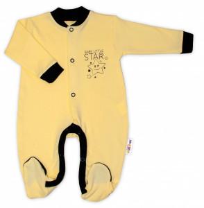 Baby Nellys Bavlněný overálek Baby Little Star - žlutý, vel. 62