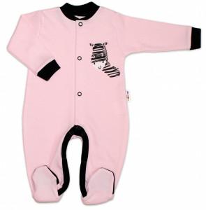 Baby Nellys Bavlněný overálek Zebra - růžový, vel. 62