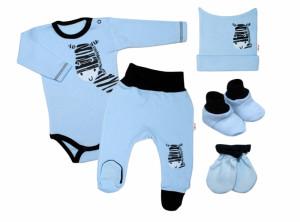 Baby Nellys 5-ti dílná soupravička do porodnice Zebra - modrá
