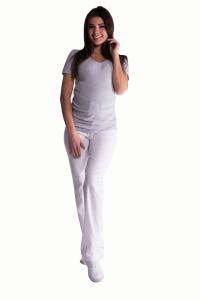 Be MaaMaa Bavlněné, těhotenské kalhoty s regulovatelným pásem - bílé, vel. XXL