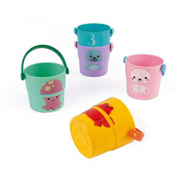 Hračka do vody kbelíky na přelévání vody Janod 5 ks
