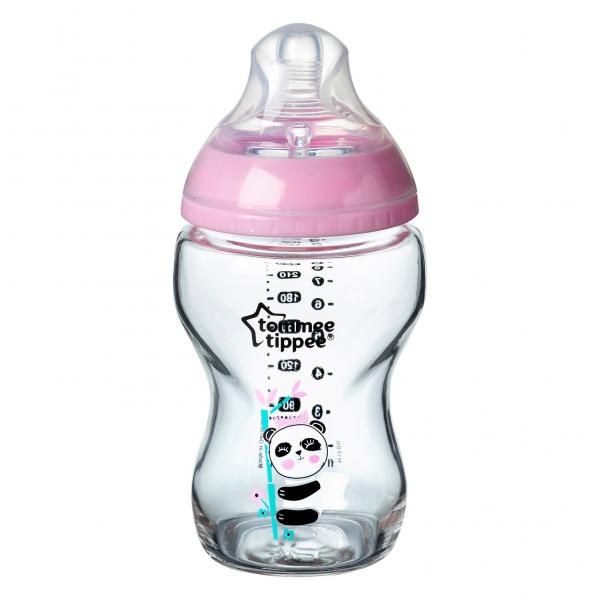 Kojenecká láhev C2N 250ml skleněná potisk Pink, 0m+