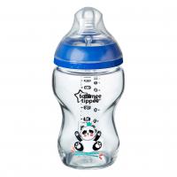 Kojenecká láhev C2N 250ml skleněná potisk Blue, 0m+