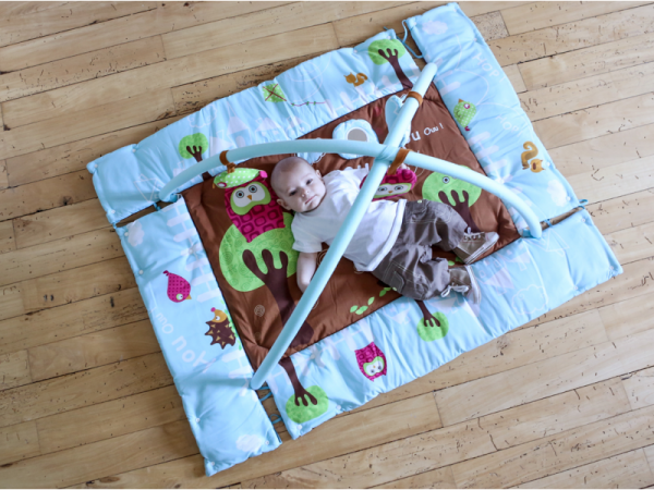 Hrací deka s mantinelem a hrazdou Sova modrá