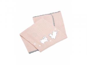 Pletená deka Králíčci růžová