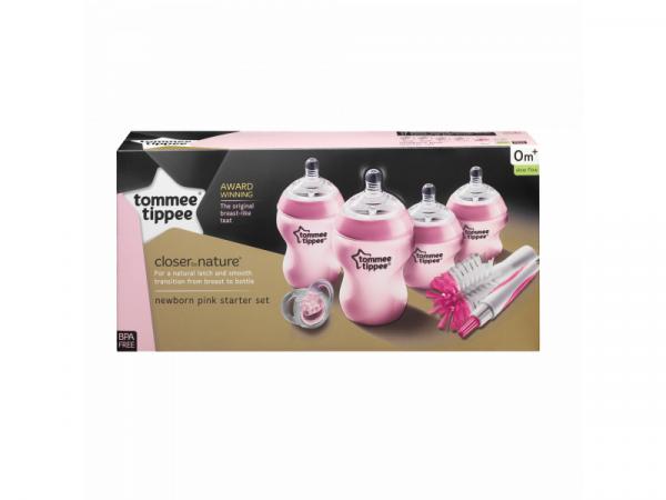 Sada kojeneckých lahviček C2N s kartáčem růžová