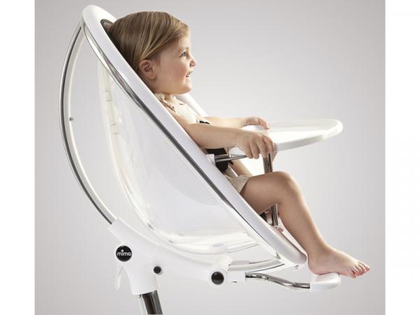 Židlička Moon 2G chrom / průhledná + opěrka nohou