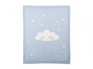 Pletená deka mráček modrá