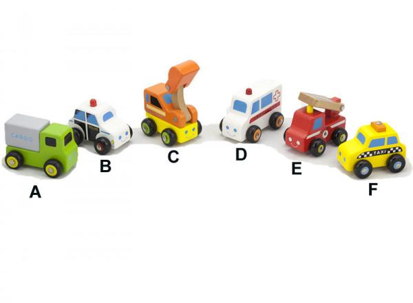 Mini vozidla dřevěná 6 druhů