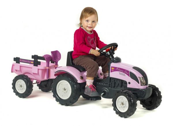 Traktor šlapací Princes s valníkem růžový