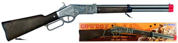 Puška kovbojská stříbrná kovová - 8 ran