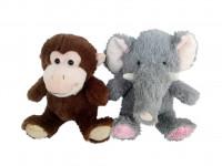 Zvířata plyšová (slon, opička) 27 cm