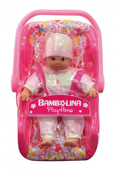 Panenka Bambolina s autosedačkou 30 cm