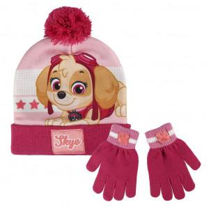 Sada rukavice, čepice s bambulí - Tlapková patrola růžová
