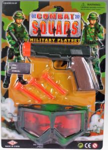Vojenská sada s pistolí, šipkami a krytem na oči