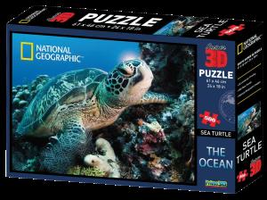 Puzzle 3D National Geographic 500 dílů  vodní želva, tygr a