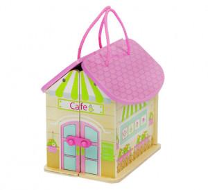 Dřevěný domeček pro panenky (přenosný)