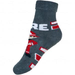 Kojenecké froté ponožky New Baby s ABS šedé s hasičem