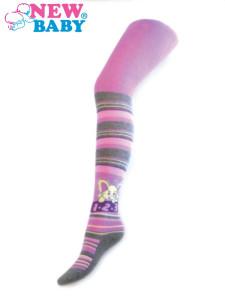 Bavlněné punčocháče New Baby fialové s pruhy a slonem