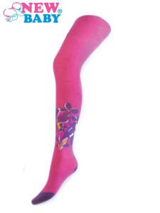 Bavlněné punčocháče New Baby růžové s fialovými kytičky