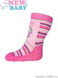 Kojenecké ponožky New Baby s ABS růžové s proužky a dortem