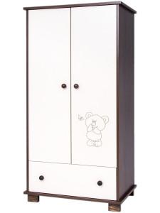 Dětská skříň Drewex Malý medvídek a motýlek ořechová