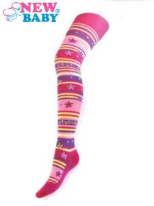 Bavlněné punčocháče New Baby světle růžové kytičky a pruhy