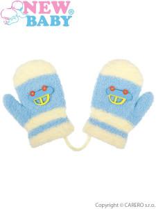 Dětské zimní rukavičky New Baby s autem světle modré