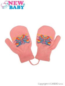 Dětské zimní rukavičky New Baby s motýlkem růžové