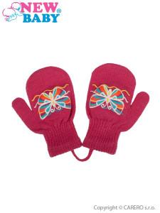 Dětské zimní rukavičky New Baby s motýlkem tmavě růžové