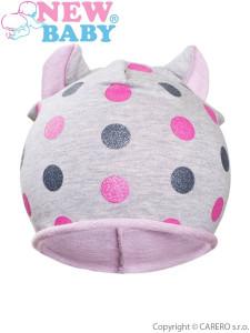 Podzimní dětská čepička New Baby puntíky šedo-světle růžová