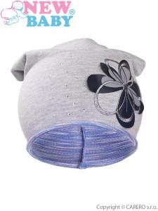 Podzimní dětská čepička New Baby květinka fialová