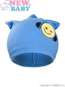 Podzimní dětská čepička New Baby smajlík světle modrá