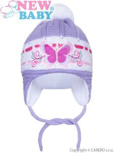Zimní dětská čepička New Baby motýlek fialová