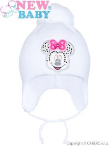 Zimní dětská čepička New Baby Minnie bílá