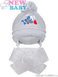 Zimní dětská čepička se šálou New Baby pejsek šedá