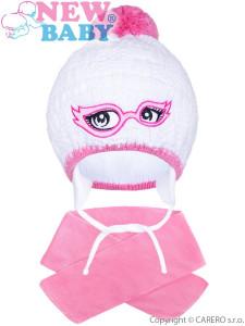 Zimní dětská pletená čepička se šálou New Baby růžová