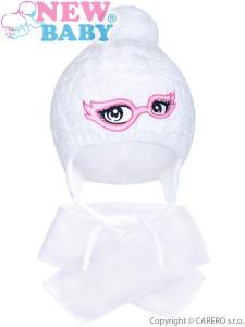 Zimní dětská pletená čepička se šálou New Baby bílá