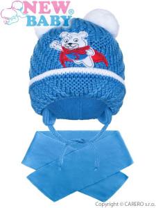 Zimní dětská čepička se šálou New Baby medvídek J tmavě modrá