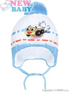 Zimní dětská čepička New Baby auto světle modrá