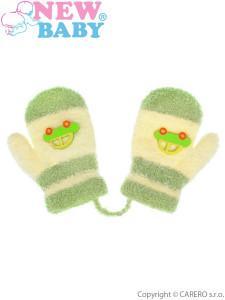 Dětské rukavičky New Baby s autem zeleno-béžové