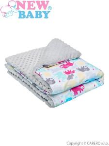 Dětská deka z Minky New Baby bílo-šedá 70x75 cm