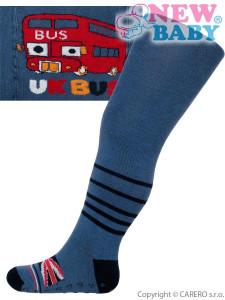 Bavlněné punčocháčky New Baby s ABS tmavě  modré UK bus