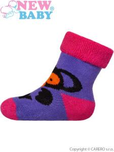 Dětské froté ponožky New Baby fialové s opičkou