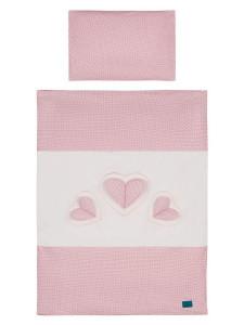 5-dílné ložní povlečení Belisima Tři srdce 100/135 bílo-růžové